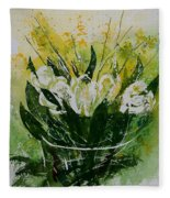 Watercolor Tulips Fleece Blanket
