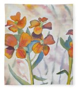 Watercolor - Wallflower Wildflowers Fleece Blanket