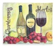Watercolor Wine Fleece Blanket