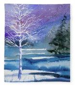 Watercolor - Winter Aspen Fleece Blanket