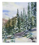 Watercolor - Winter Snow-covered Landscape Fleece Blanket