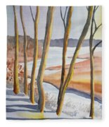 Watercolor - Winter Sunrise Fleece Blanket