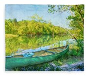 Watercolors At The Lake Fleece Blanket