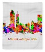 Watercolour Art Print Of The Skyline Of Atlanta Georgia Usa Fleece Blanket