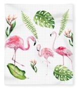 Watercolour Flamingo Family Fleece Blanket
