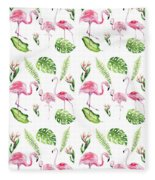 Watercolour Tropical Beauty Flamingo Family Fleece Blanket