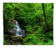 Waterfall And Rhododendron In Bloom Fleece Blanket