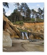 Waterfall At Hug Point State Park Oregon Fleece Blanket