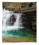 Waterfall At Johnston Canyon Fleece Blanket