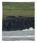Waterfall At The Cliffs Of Moher Fleece Blanket