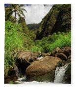 Waterfall At The Iao Needle Fleece Blanket