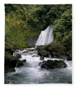 Waterfall In La Fortuna Fleece Blanket