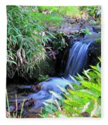 Waterfall In The Fern Garden Fleece Blanket