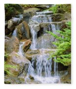 Waterfall In The Vandusen Botanical Garden 1 Fleece Blanket