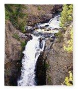 Waterfall In Yellowstone Fleece Blanket