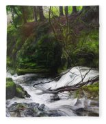 Waterfall Near Tallybont-on-usk Wales Fleece Blanket