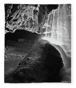 Waterfall Of The Caverns Black And White Fleece Blanket