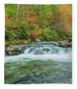 Waterfall On Little Pigeon River Smoky Mountains Fleece Blanket