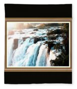 Waterfall Scene For Mia Parker - Sutcliffe L A S With Decorative Ornate Printed Frame.  Fleece Blanket
