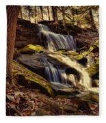 Waterfall Through The Trees Fleece Blanket