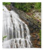 Waterfall With Green Leaves Fleece Blanket