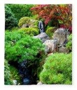 Waterfalls In Japanese Garden Fleece Blanket