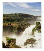 Waterfalls On Iguazu River Fleece Blanket