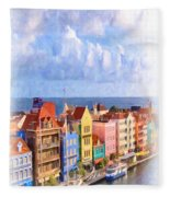 Waterfront Houses Fleece Blanket