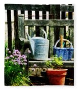 Watering Can And Blue Basket Fleece Blanket