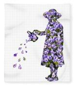 Watering Flowers Fleece Blanket