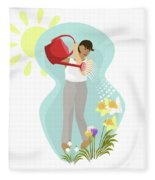 Watering Plants Fleece Blanket