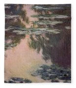 Waterlilies With Weeping Willows Fleece Blanket
