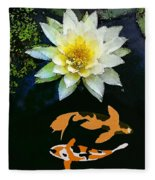 Waterlily And Koi Pond Fleece Blanket