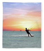Watersport On Thecaribbean Sea At Aruba Island At Sunset Fleece Blanket