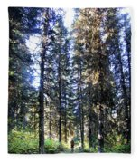 Waterton Valley Trail Detail - Glacier National Park Fleece Blanket