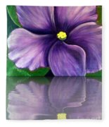 Watery African Violet Reflection Fleece Blanket