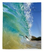 Wave Breaking At Makena Fleece Blanket
