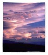 Wave Couds Over The Owens Valley Fleece Blanket