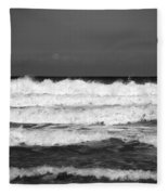 Waves 1 In Bw Fleece Blanket