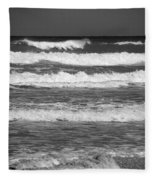 Waves 3 In Bw Fleece Blanket