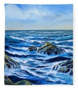 Waves And Foam Fleece Blanket