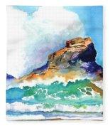 Waves Bursting On Rocks Fleece Blanket