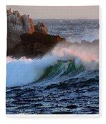 Waves Crash Against The Rocks Fleece Blanket