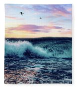 Waves Crashing At Sunset Fleece Blanket