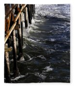 Waves Hitting Santa Monica Pier Fleece Blanket