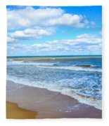 Waves Lapping On Beach 3 Fleece Blanket