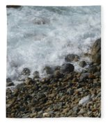 Waves Meet Pebbles Fleece Blanket
