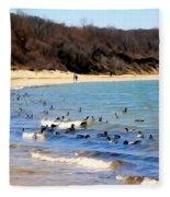 Waves Of Ducks Fleece Blanket