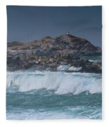 Waves On A Cloudy Day Fleece Blanket
