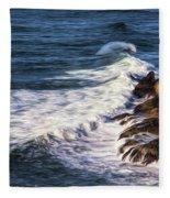 Waves Rocks And Birds Fleece Blanket